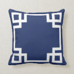 "Dark Blue White Greek Key Throw Pillow<br><div class=""desc"">Greek Key pattern pillow in dark navy blue and white.  A chic,  trendy,  modern,  graphic print.</div>"