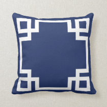 Dark Blue White Greek Key Throw Pillow