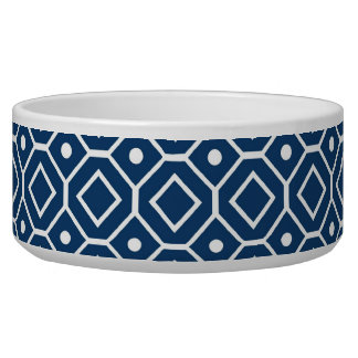 Dark Blue White Pattern Custom Dog Bowl