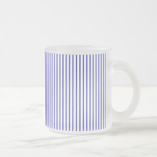 Dark Blue White Pinstripe Frosted Glass Coffee Mug