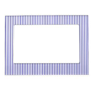Dark Blue White Pinstripe Magnetic Picture Frame