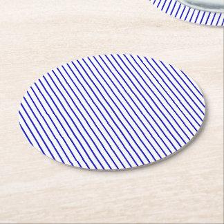 Dark Blue White Pinstripe Round Paper Coaster