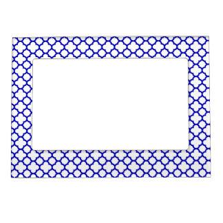 Dark Blue White Quatrefoil Magnetic Picture Frame