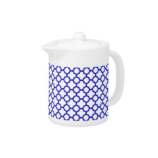 Dark Blue White Quatrefoil Teapot
