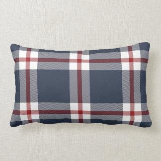 Dark Blue White Red Cool Lumberjack Plaid Pattern Lumbar Pillow