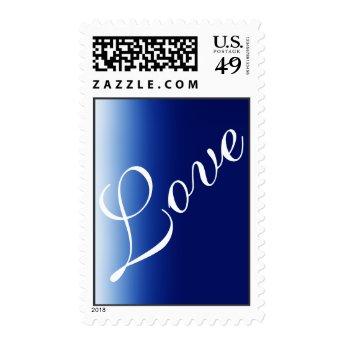 Dark Blue White Script Love Wedding Postage