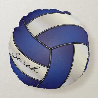 Dark Blue & White Sport Volleyball   DIY Name Round Pillow