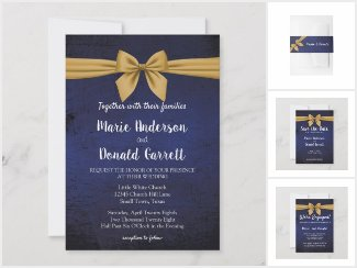 Dark Blue with Gold Bow Collection