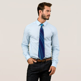 Dark Blue with Light Blue Curved Lines Tie