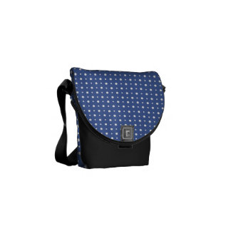 Dark Blue with Quirky White Polka Dots Pattern Courier Bag