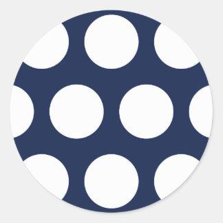 Dark Blue with White Dots Classic Round Sticker