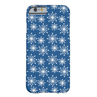 Dark Blue with White Snowflake Pattern Barely There iPhone 6 Case