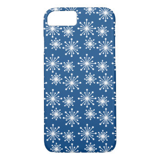 Dark Blue with White Snowflake Pattern iPhone 8/7 Case