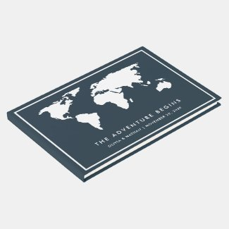Dark Blue World Map | Elegant Travel Theme Guest Book