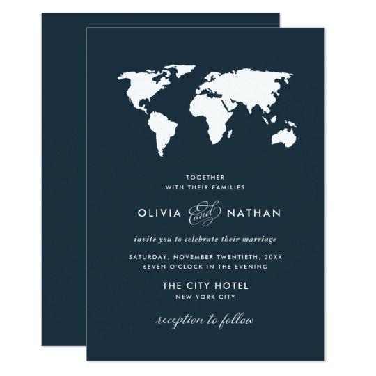 Dark Blue Wedding Invitations: Elegant Travel Theme Wedding