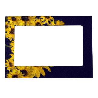 Dark Blue Yellow Sunflowers Magnetic Photo Frame