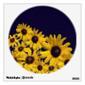 Dark Blue Yellow Sunflowers Wall Decal