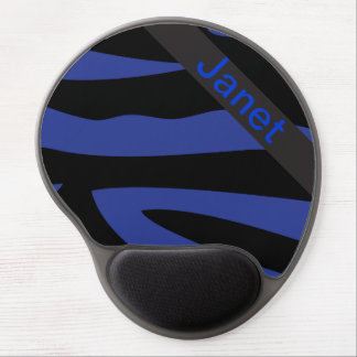 Dark Blue Zebra Animal Print | Personalize Gel Mouse Pad