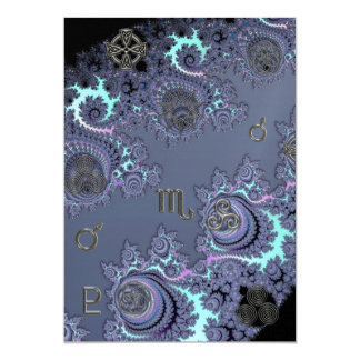 """Dark Blue Zodiac Sign Scorpio Mystical 5"""" X 7"""" Invitation Card"""