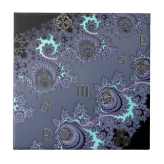 Dark Blue Zodiac Sign Scorpio Mystical Tile