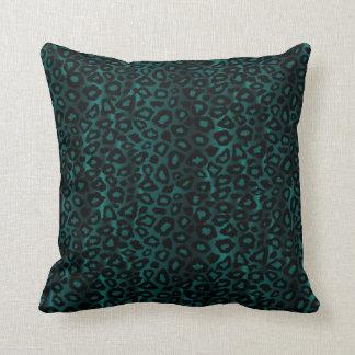 Dark Bluish Green Leopard Animal Print Throw Pillow