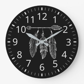Dark Boho Clock Style With Arrow And Feathers