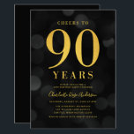 """Dark Bokeh Gold Cheers to 90 Years Birthday Party Invitation<br><div class=""""desc"""">Classy 90th Birthday Party invitation featuring the words """"Cheers to 90 Years"""" in faux gold foil against a dark gray bokeh pattern background. Invitation has a dark gray background back side. Personalize this invitation with your details by replacing the placeholder text. For more options such as to change the font,...</div>"""