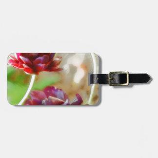 Dark Bordeaux Peony Flowering Tulip Trio Bag Tag