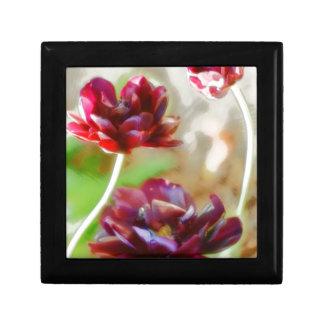 Dark Bordeaux Peony Flowering Tulip Trio Keepsake Box