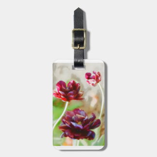 Dark Bordeaux Peony Flowering Tulip Trio Luggage Tag