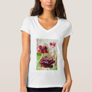Dark Bordeaux Peony Flowering Tulip Trio T-Shirt