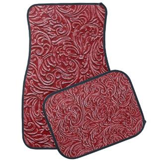 Dark Brick Red Vintage Tin Tile Look Rustic Car Mat