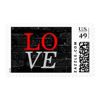 Dark Brick Wall Background Love Wedding Stamp
