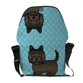 Dark Brindle Cairn Terrier Cartoon Dog Messenger Bag