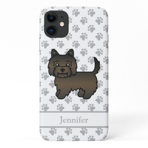 Dark Brindle Cairn Terrier Cute Cartoon Dog & Name iPhone 11 Case