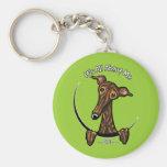 Dark Brindle Greyhound IAAM Basic Round Button Keychain
