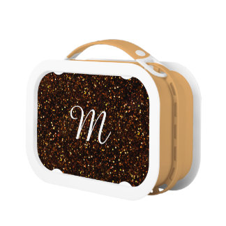 Dark Bronze Orange Glitter Lunch Box