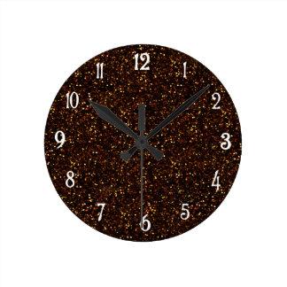 Dark Bronze Orange Glitter Round Clock