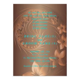 Dark Brown Abstract Flowers Card