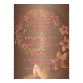Dark Brown Abstract Flowers 6.5x8.75 Paper Invitation Card