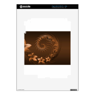Dark Brown Abstract Flowers Skins For iPad 2