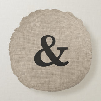 Dark Brown Ampersand Round Throw Pillow