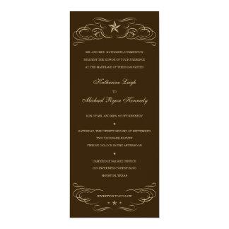 Dark Brown and Beige Lone Star Wedding Invitations