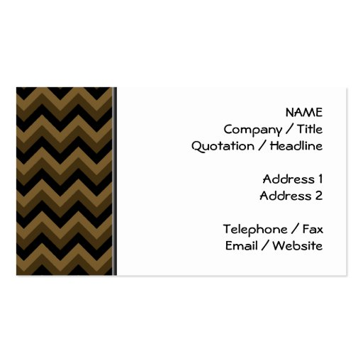 Dark Brown and Black Zigzag Pattern. Double-Sided Standard Business Cards (Pack Of 100)