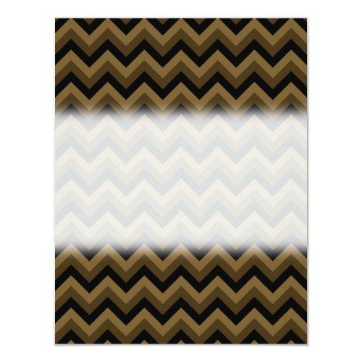 Dark Brown and Black Zigzag Pattern. Custom Invitations