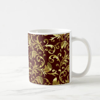 Dark Brown And Gold Vintage Damasks Classic White Coffee Mug