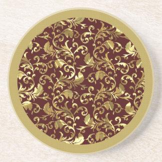 Dark Brown And Gold Vintage Damasks Coaster