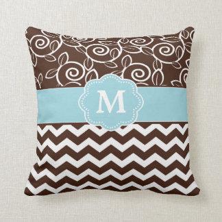 Dark Brown and Light Blue Chevron Monogram Pillow