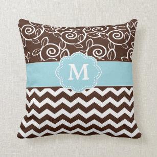 Blue Brown Chevron Pillows - Decorative   Throw Pillows  38cd59f20