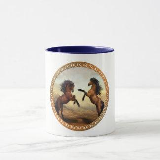 Dark Brown And Light Brown Friesian Draft Horses Mug